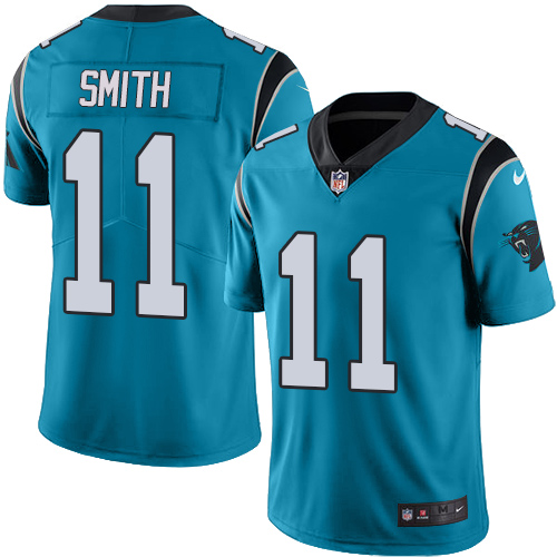 Nike Panthers #11 Torrey Smith Blue Men's Stitched NFL Limited Rush Jersey