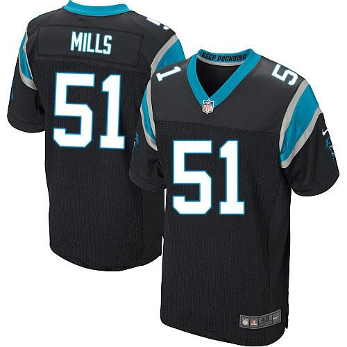 Nike Panthers #51 Sam Mills Black Team Color Men's Stitched NFL Elite Jersey